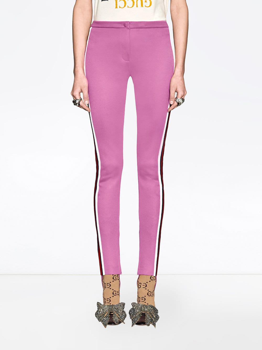 6a33d56328d Gucci - Pink Jersey Stirrup leggings With Web - Lyst. View fullscreen