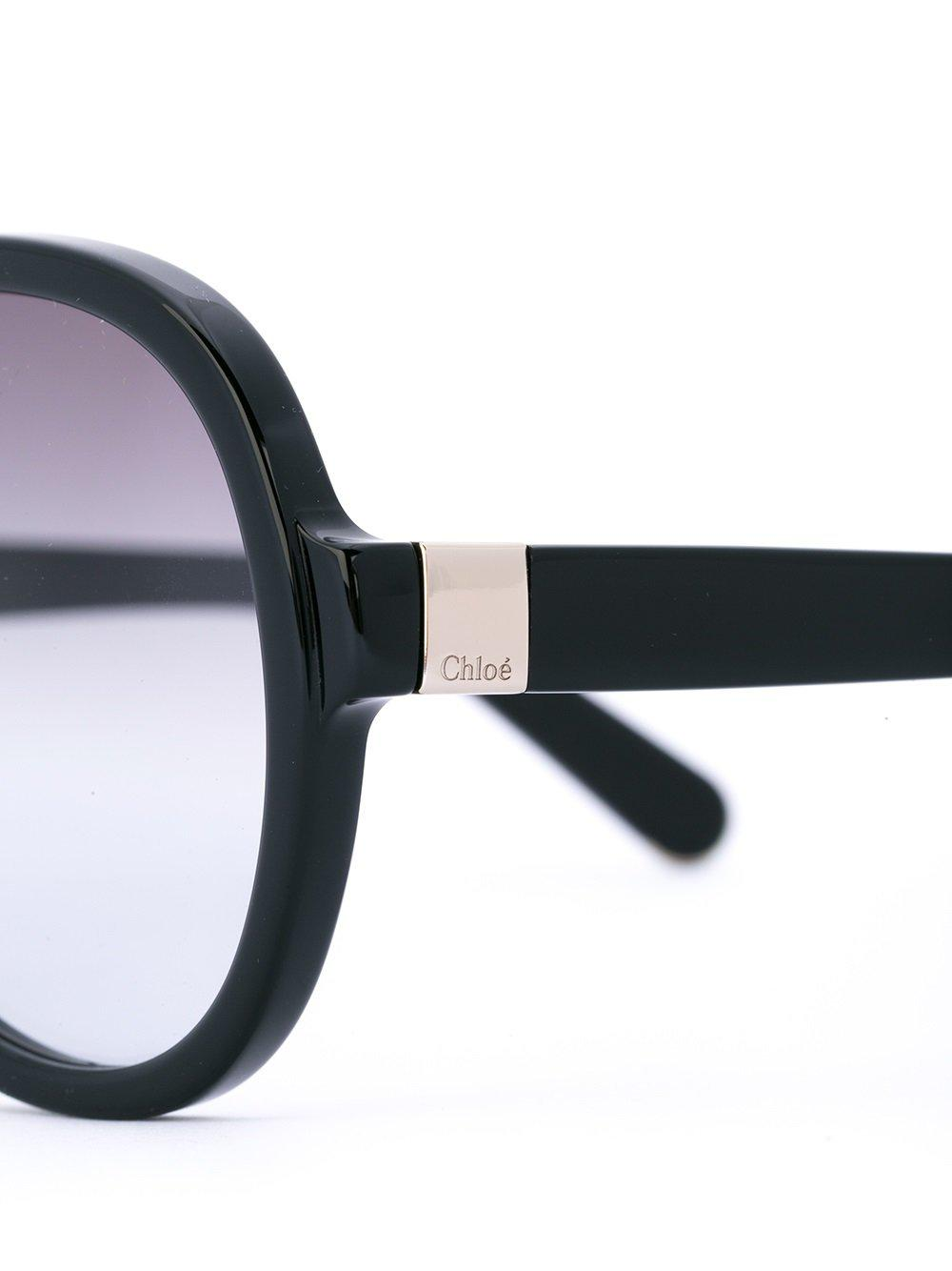 68acb26672 Gafas de sol de montura redonda estilo aviador Chloé de color Negro ...
