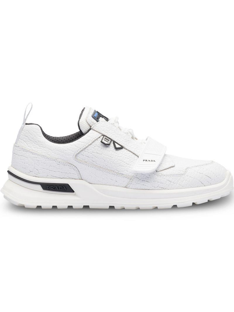 95b10e095ea Prada Crepe-effect Sneakers in White for Men - Lyst
