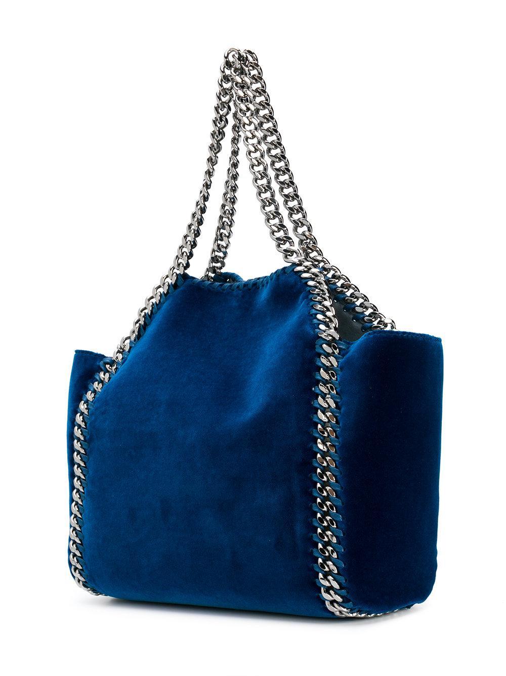 Stella McCartney Velvet Falabella Tote Bag in Blue