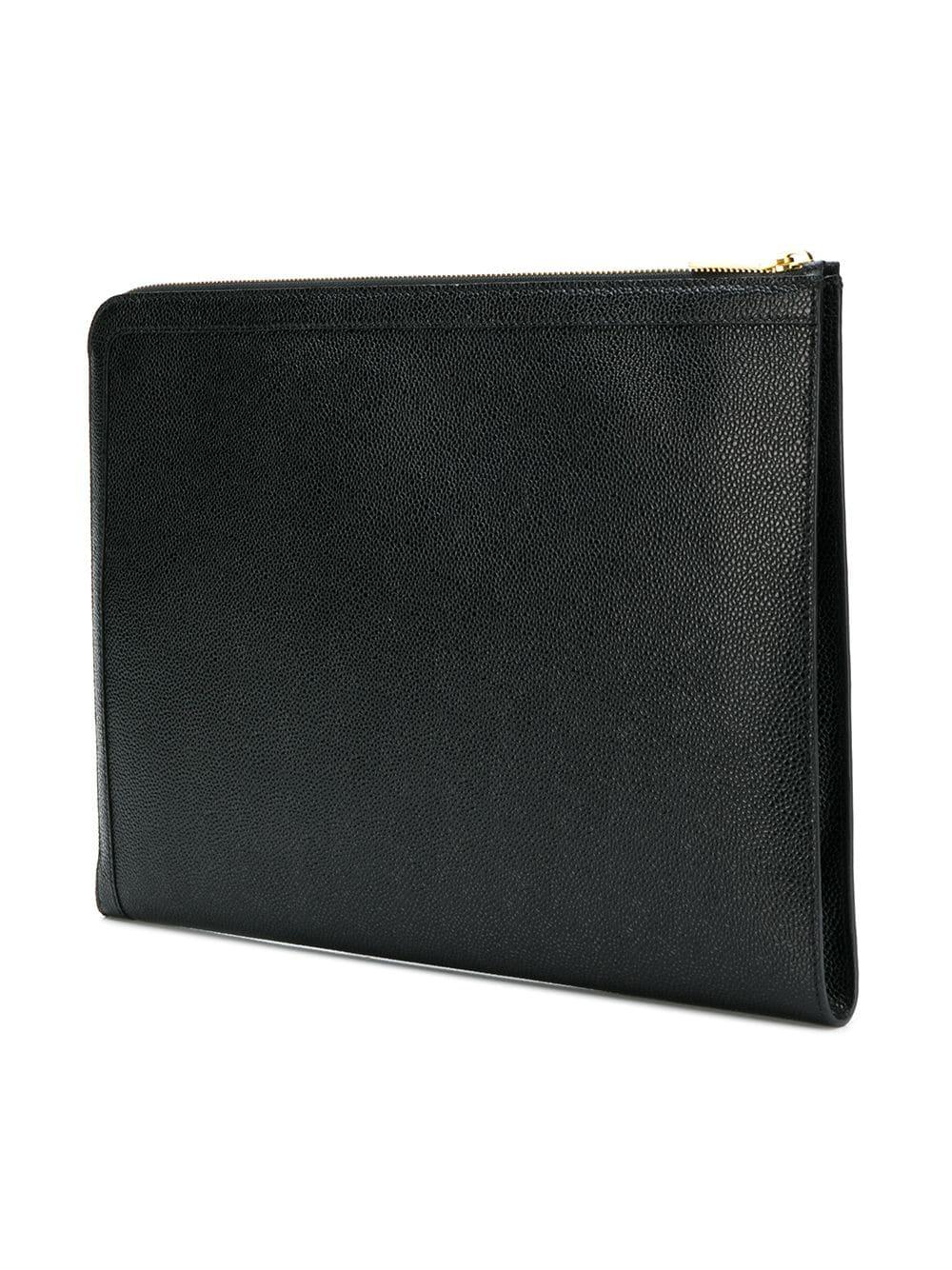 b2673b4dcb Thom Browne - Black Pebbled Leather Document Gusset Folio for Men - Lyst.  View fullscreen