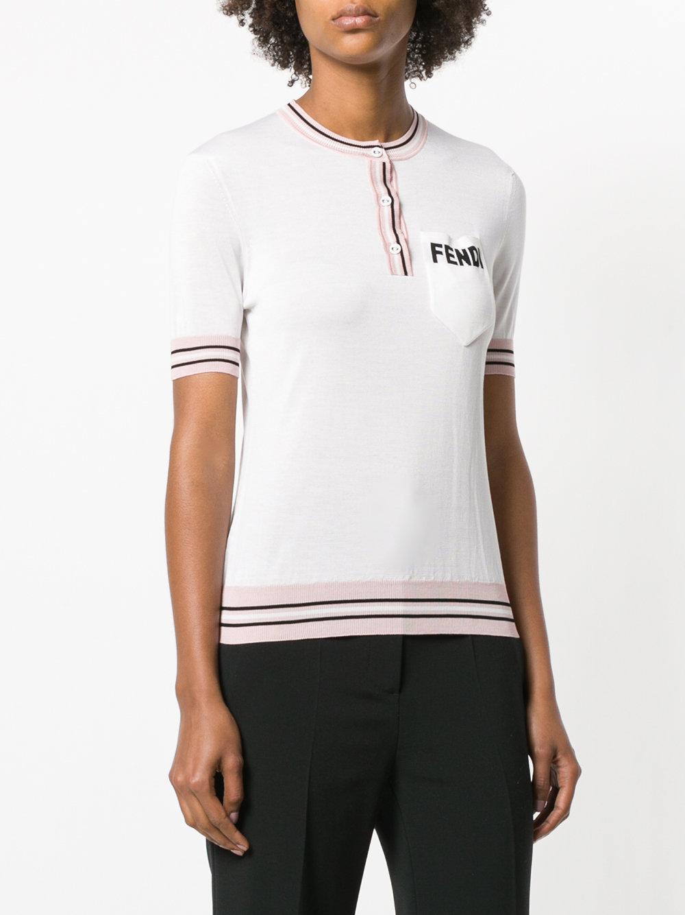 5649cce98fd Fendi - White Logo Short-sleeve Sweater - Lyst. View fullscreen