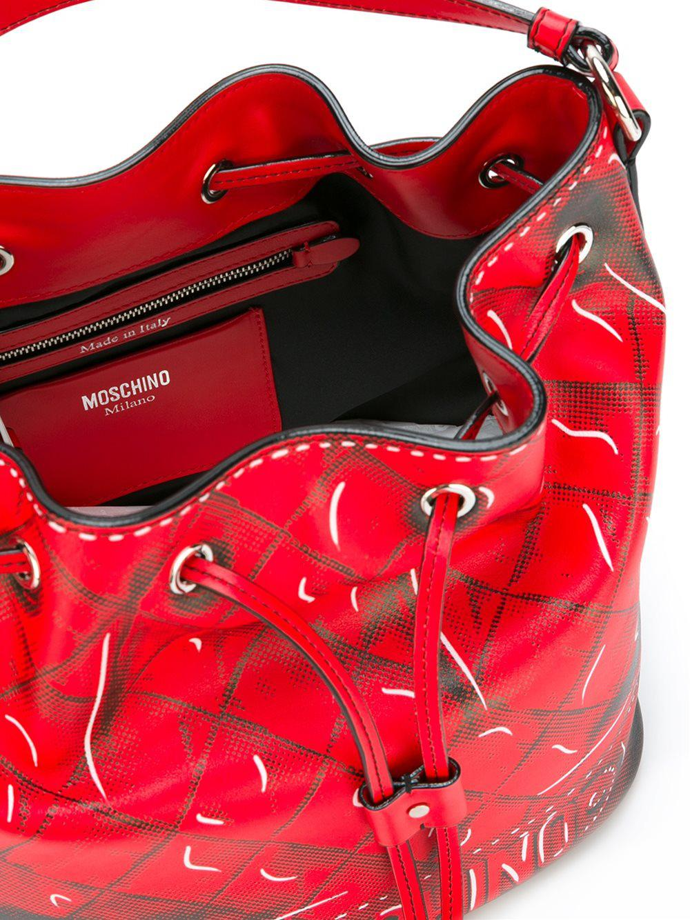 Moschino Leather Trompe-l'oeil Bucket Tote in Red