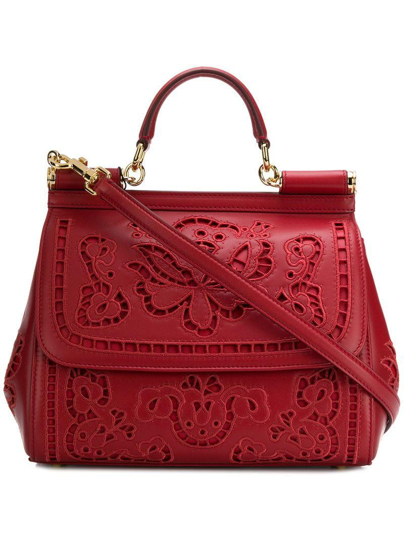 c5a6e4f2d04 Lyst - Dolce   Gabbana Sicily Tote Bag in Red - Save 18.962432915921283%