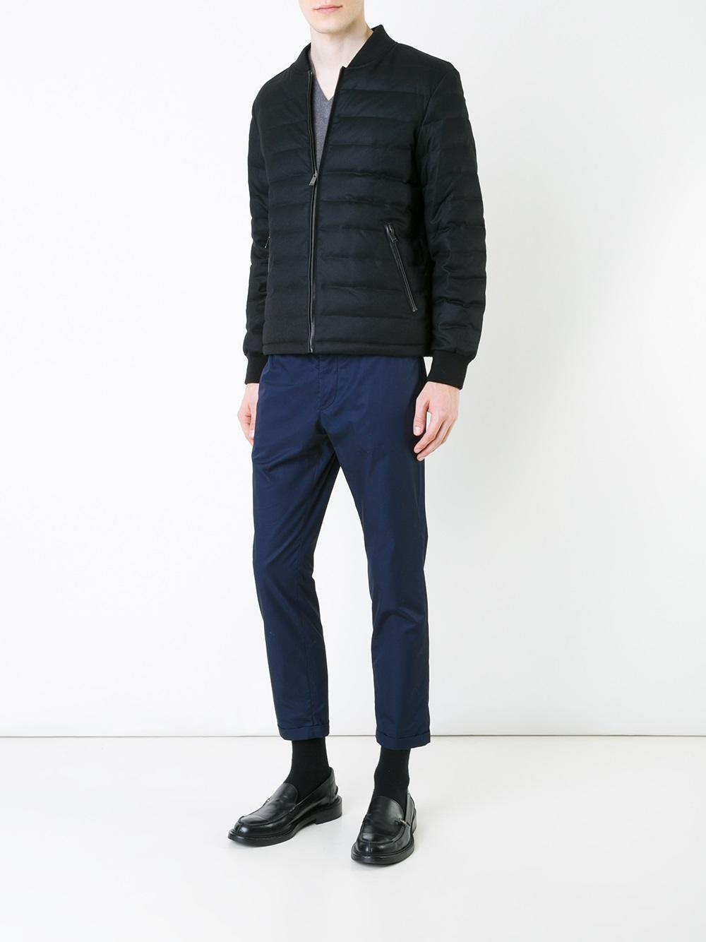 Kent & Curwen Wool Down Bomber Jacket in Black for Men