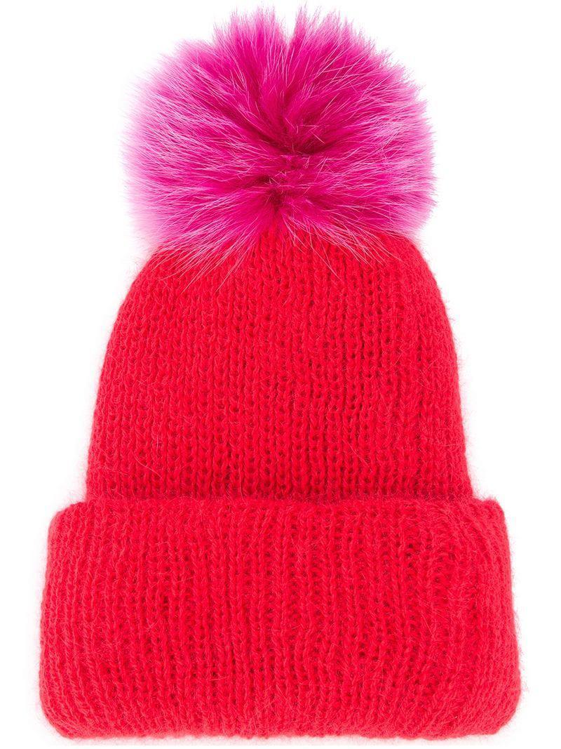 7ab9990c636 Eugenia Kim Faux Fur Pom Pom Hat in Red - Lyst