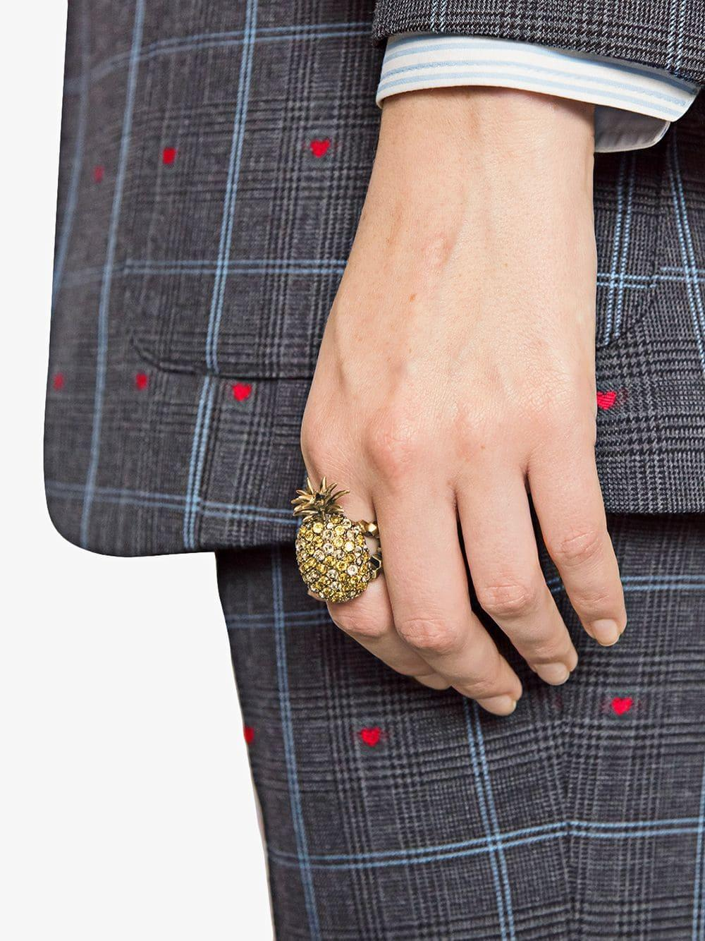 08ca81e5b Lyst - Gucci Crystal Studded Pineapple Ring In Metal in Metallic