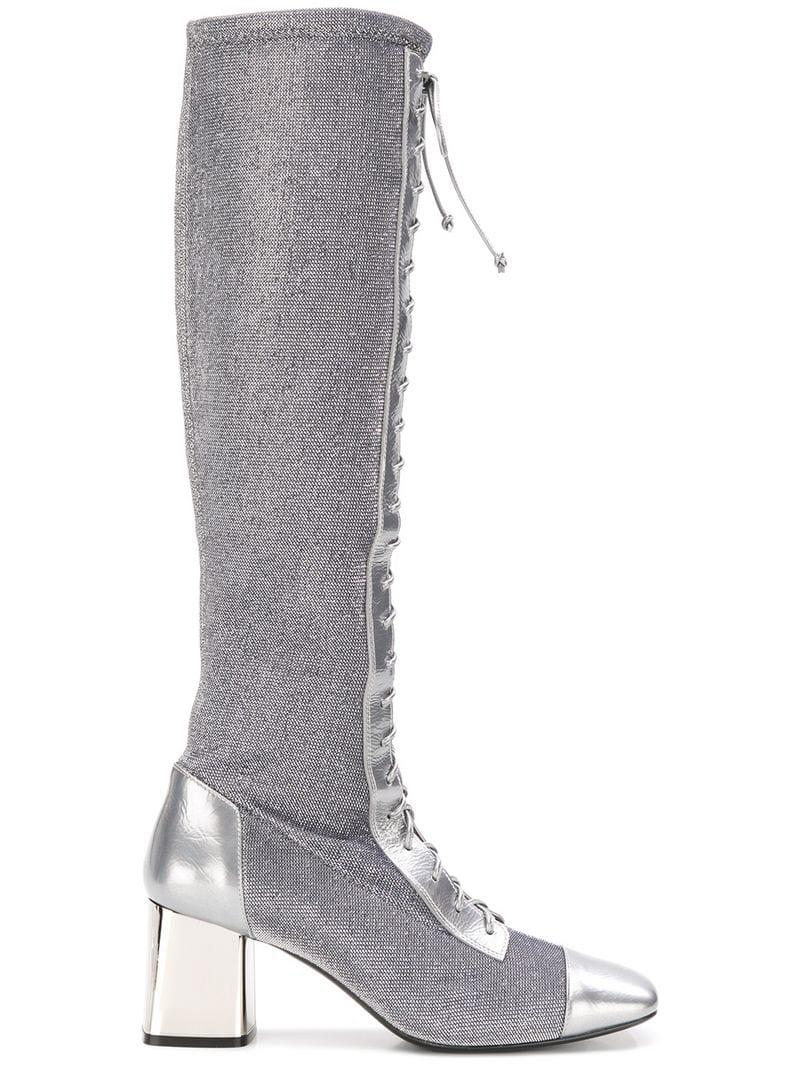 Casadei Leather Evening Lace-up Boots