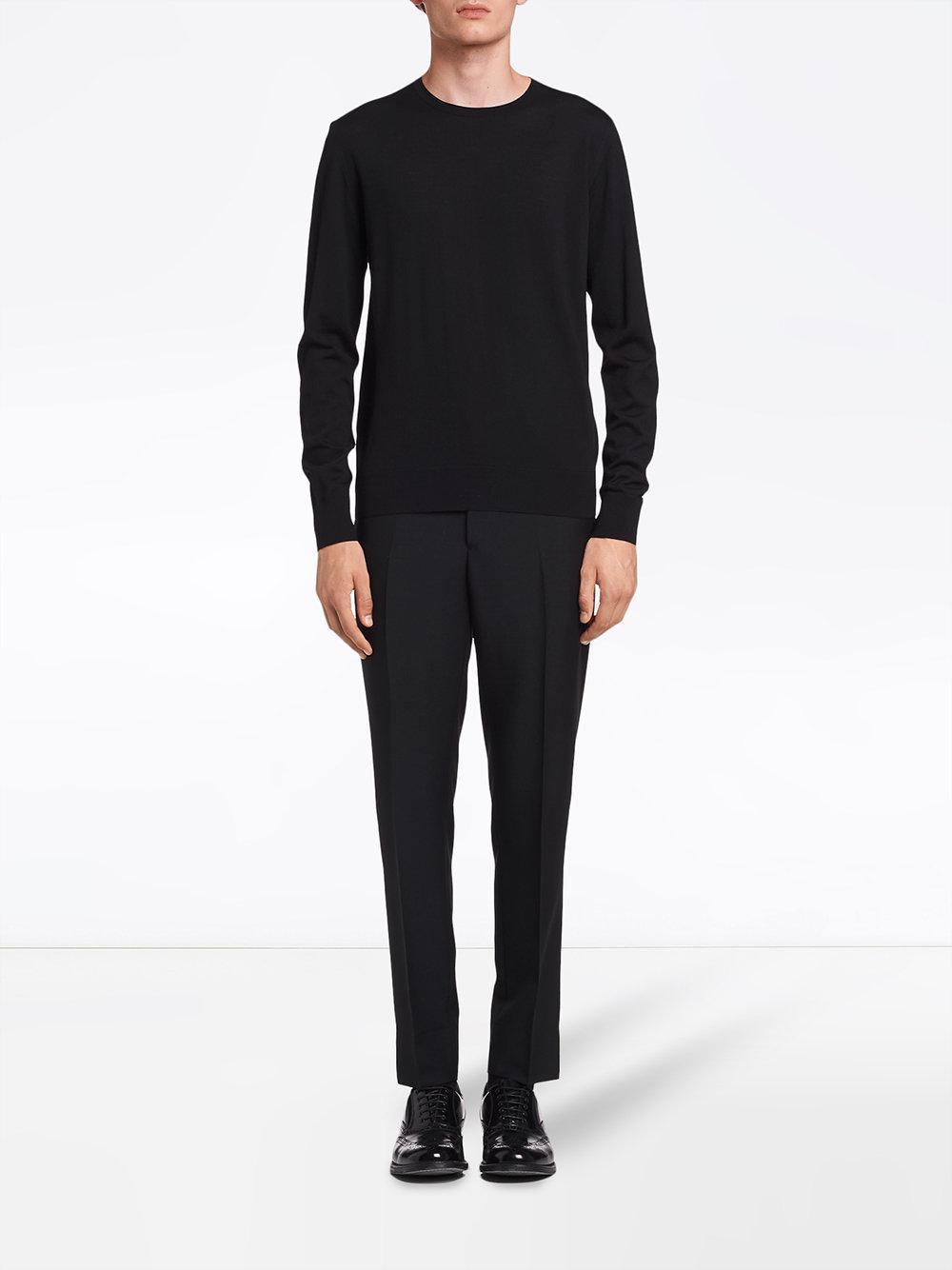Prada Wol Knitted Crew Neck Sweater in het Zwart voor heren