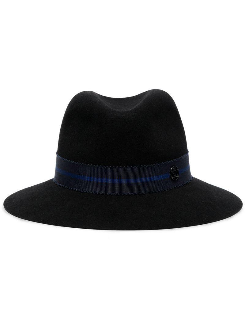 f85f87ec2ae Lyst - Maison Michel Ribbon Detail Wool Fedora Hat in Black
