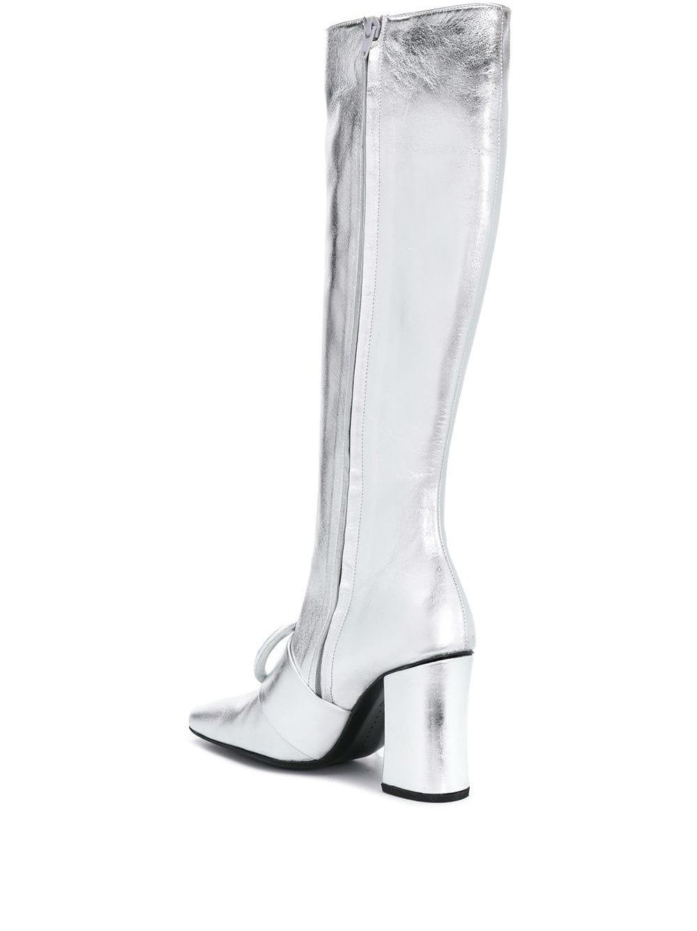 Dorateymur Leather Knee Length Boots in Metallic