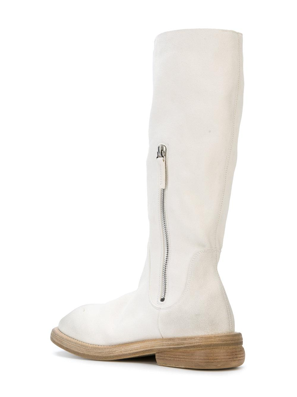 Marsèll Leather Wooden Sole Boots in White