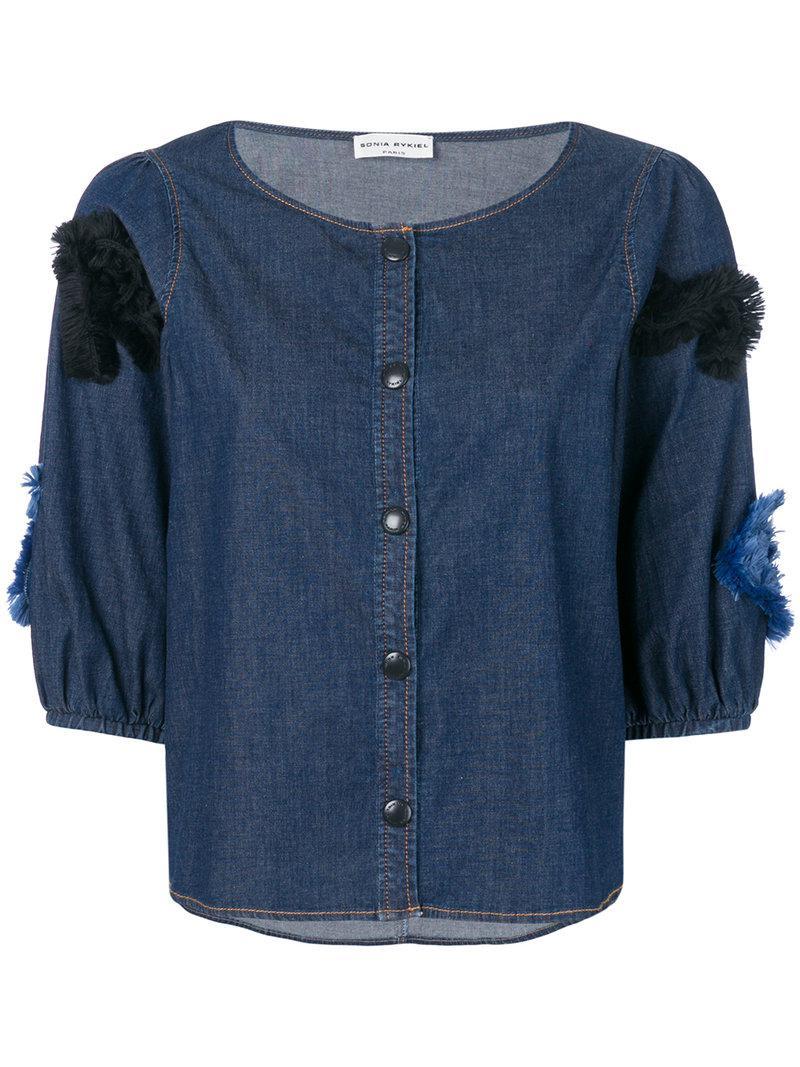 chambray fil coupé SR blouse - Blue Sonia Rykiel High Quality Cheap Online Pre Order Online TGJQnaGw