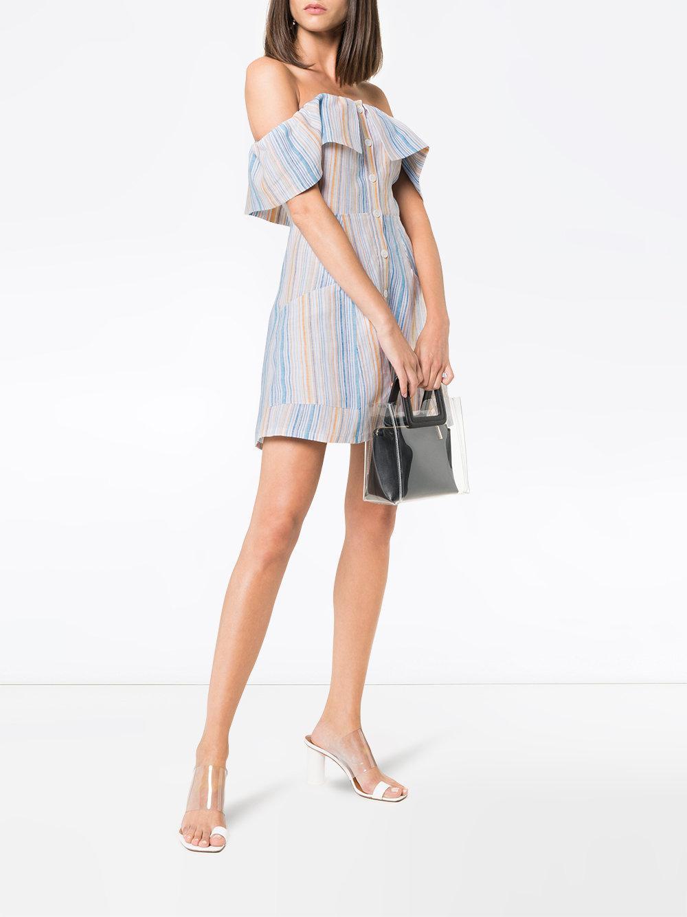 873c17602f5 Reformation  landy  Off The Shoulder Linen Dress in Blue - Save 60% - Lyst