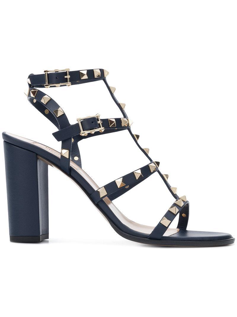 9227d9e96b0 Lyst - Valentino Garavani Rockstud Block Heel Sandals in Blue - Save 20%