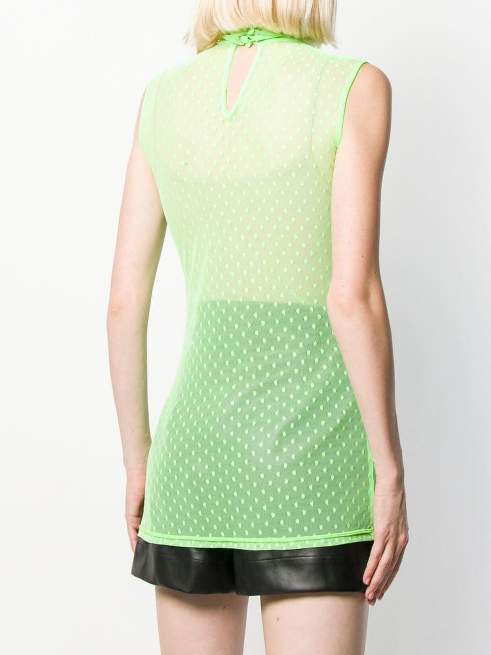 Camiseta de tirantes de malla con motivo de lunares Styland de Tejido sintético de color Verde