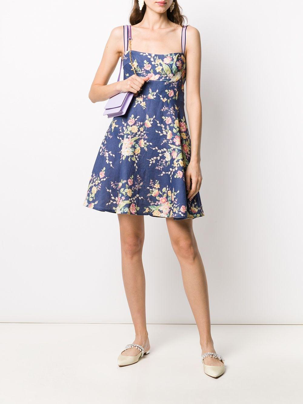 Zimmermann Leinen 'Zinnia' Minikleid mit Blumen-Print in Blau