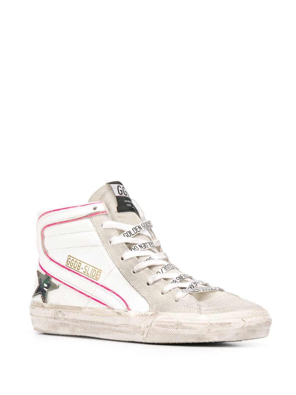Zapatillas altas Slide Golden Goose Deluxe Brand de Cuero de color Blanco