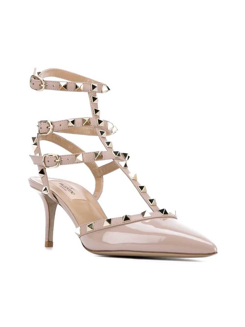 7474155c674 Lyst - Valentino Garavani Rockstud Ankle Strap Pumps in Pink