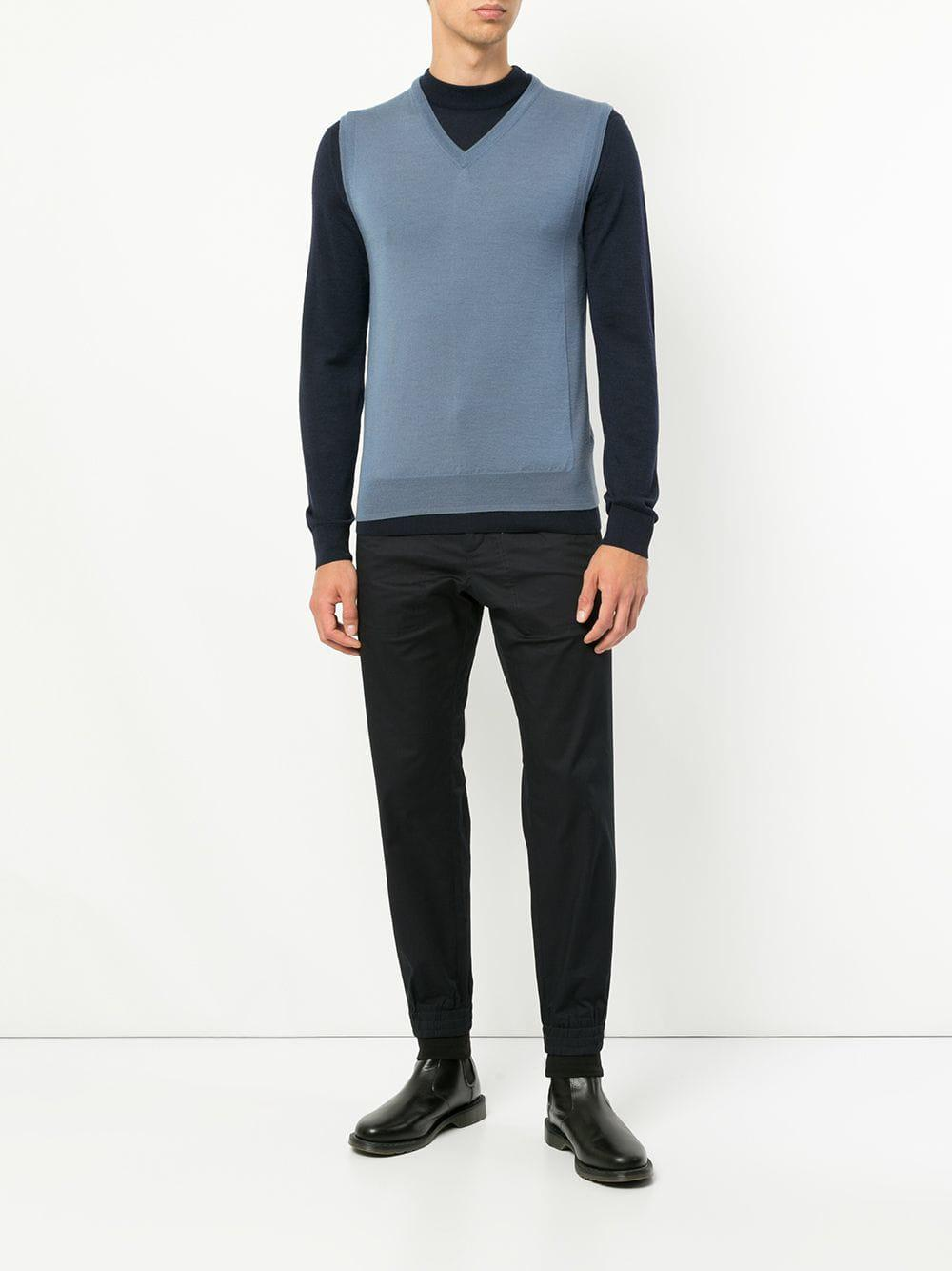 Cerruti 1881 Wool Sleeveless Fitted Sweater in Blue for Men