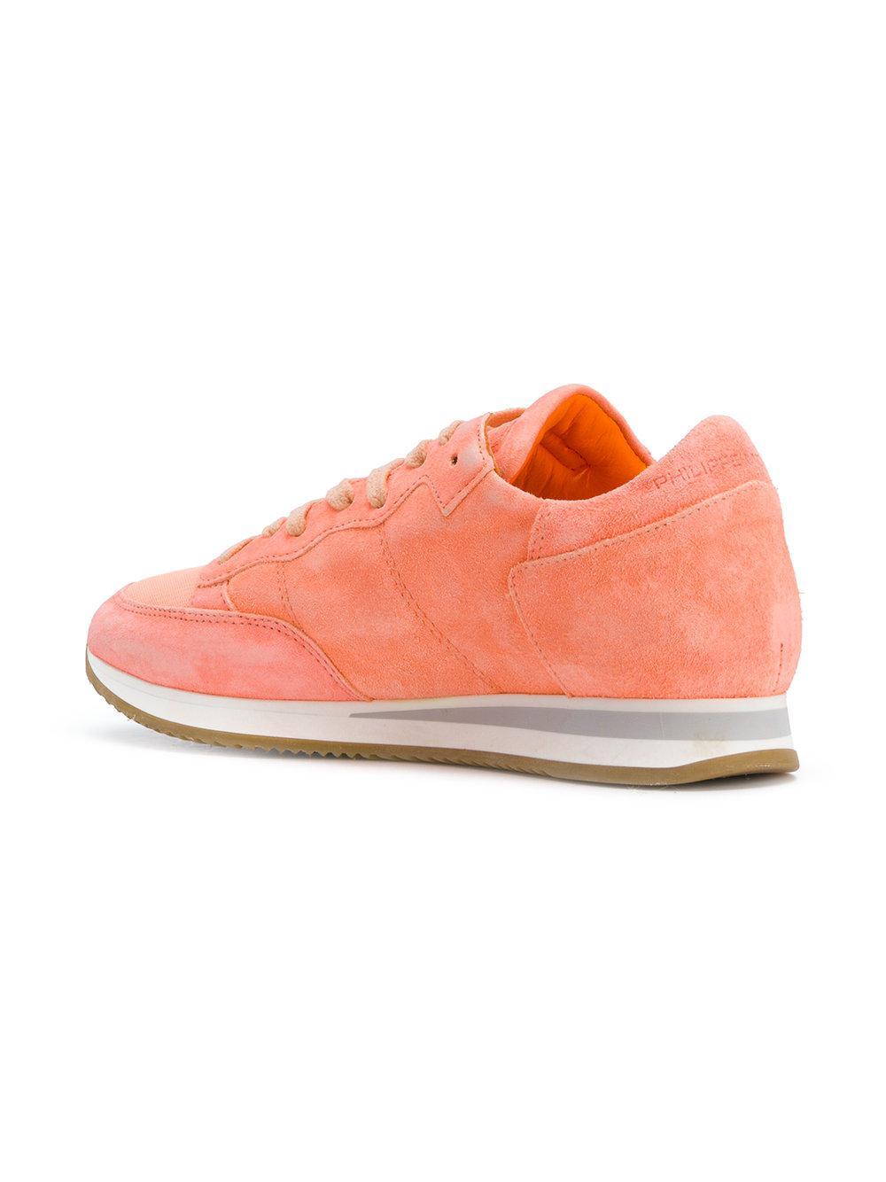 Philippe Model Suede Tropez Sneakers in Yellow & Orange (Pink)