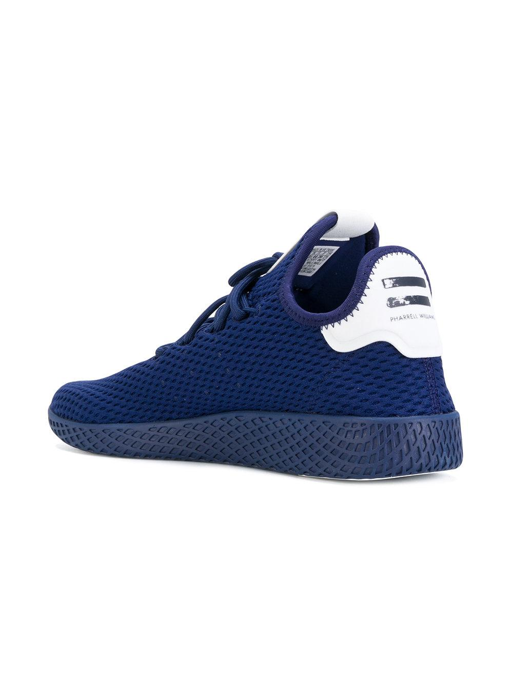 adidas Originals Leather Tennis Hu Sneakers in Blue