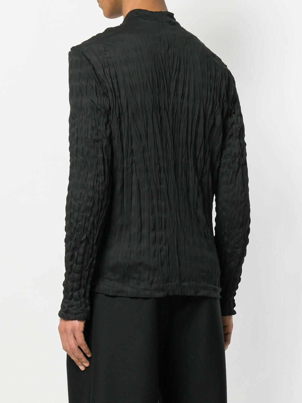 Issey Miyake Crinkled Zip-up Jacket in Black for Men