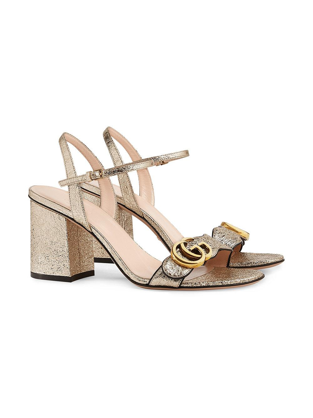 cdd8fb1d556 Lyst - Gucci Metallic (grey) Laminate Leather Mid-heel Sandal in ...