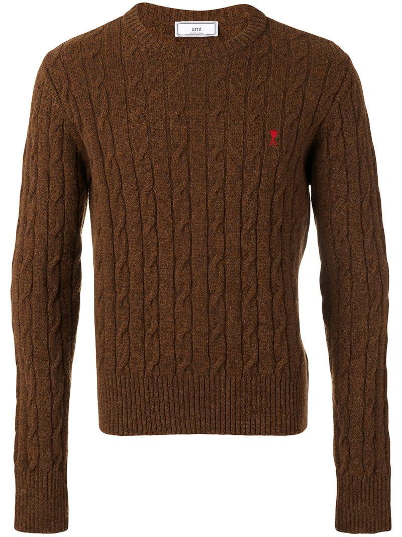 Ami Ami De Coeur Cable-knit Sweater in Brown for Men | Lyst