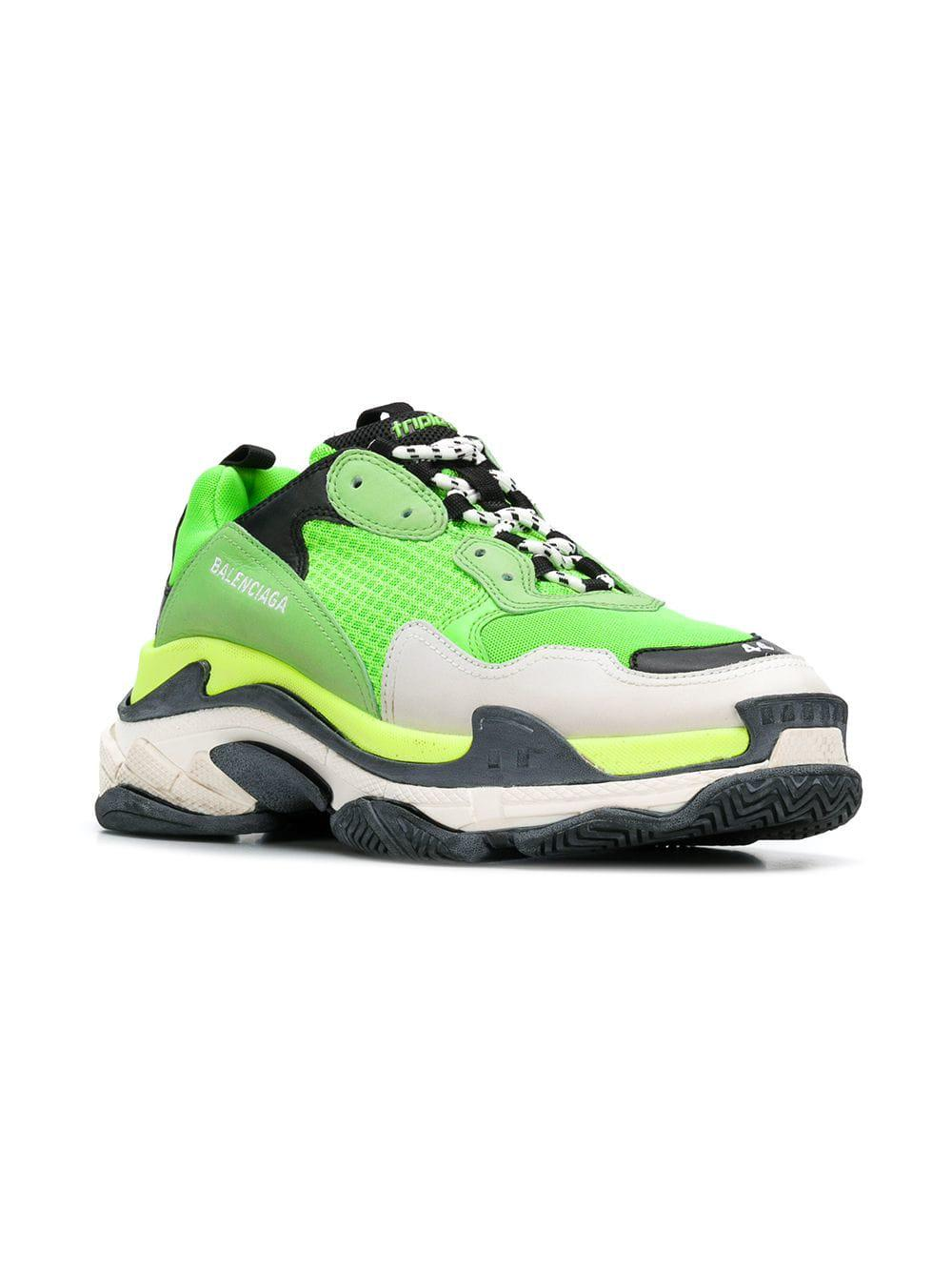 wholesale great prices great fit Calfskin Mesh Mens Triple S Trainers Sneakers 46 Vert Fluo Black