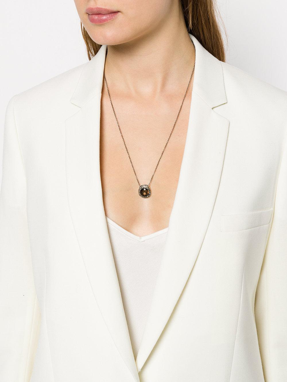 Rosa Maria Smokey Quartz, Diamond And Sapphire Pendant Necklace in Metallic