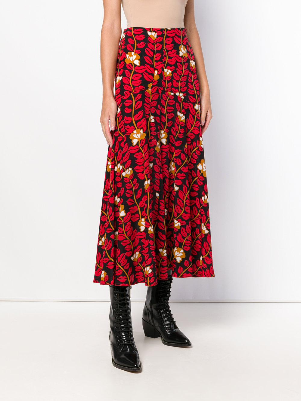 7fc4fd53554420 Lyst - Sonia Rykiel Lonf Printed Skirt in Red