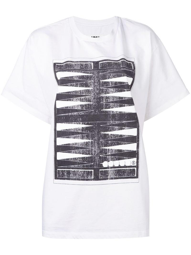 78f09ce1 Mm6 By Maison Martin Margiela Oversized Printed T-shirt in White - Lyst