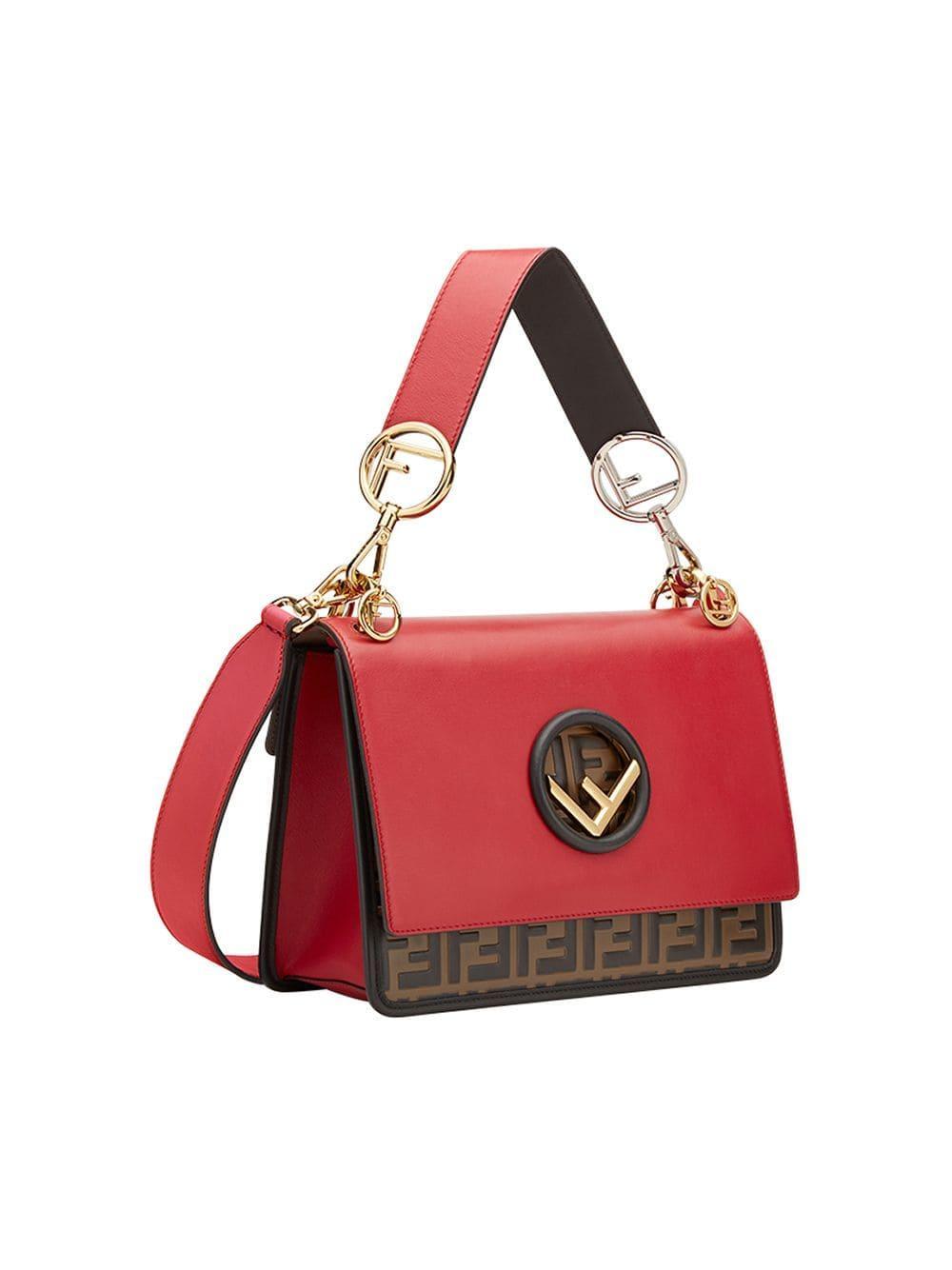70694791f101 Lyst - Fendi Kan I F Shoulder Bag in Red - Save 27%