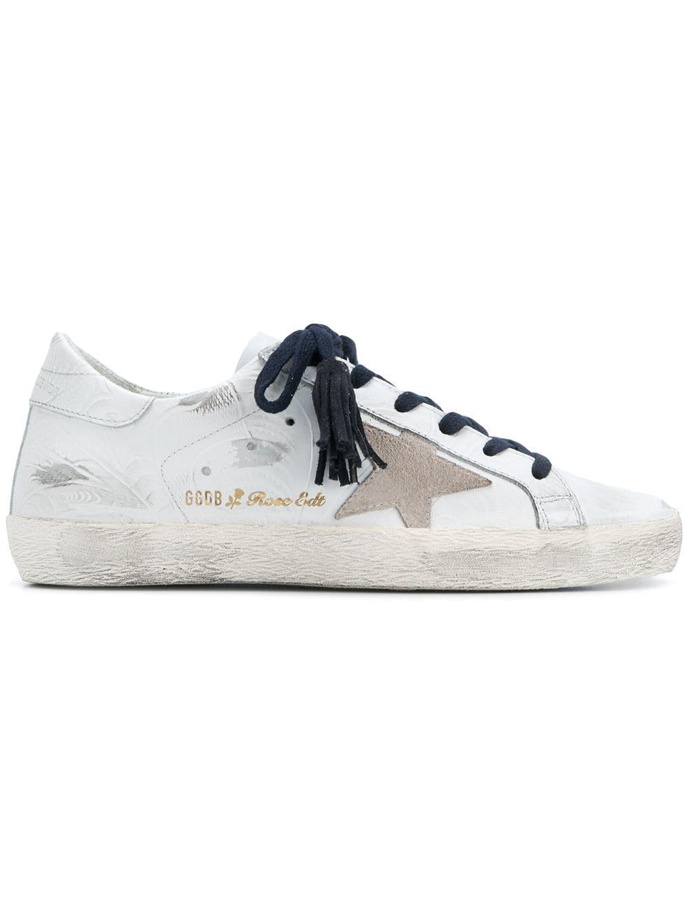 Golden Goose Deluxe Brand Leather Superstar Rose Edition Sneakers in White