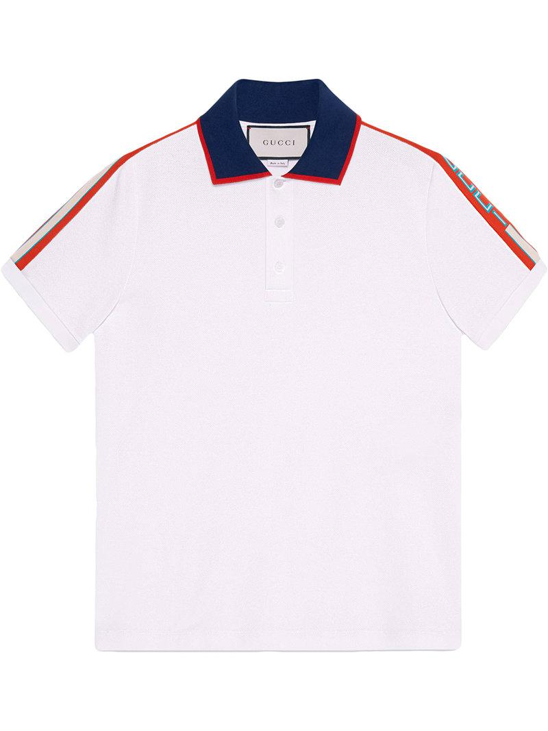 a872955f2 Gucci - White Cotton Polo With Stripe for Men - Lyst. View fullscreen