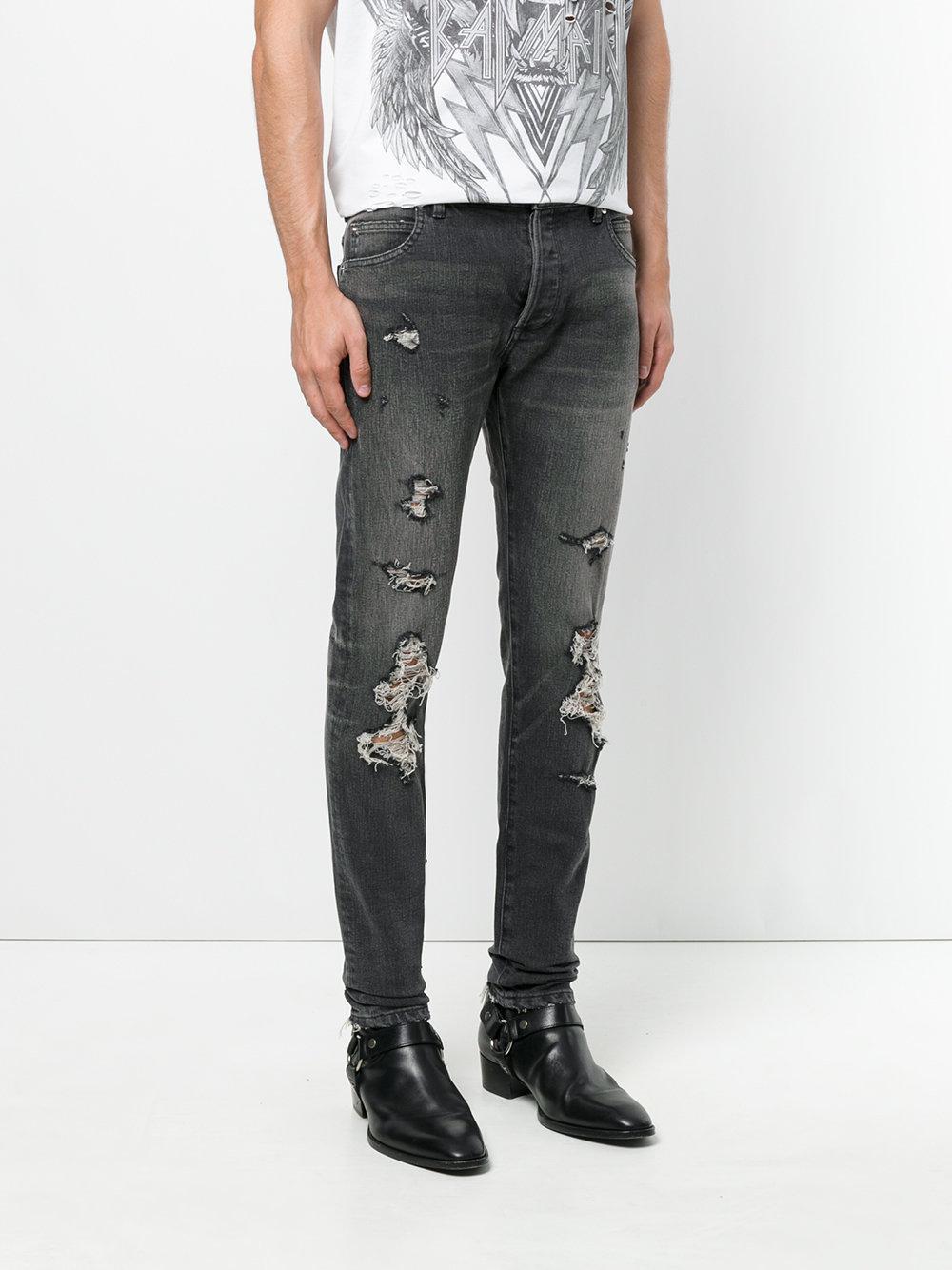 Balmain Denim Distressed Slim Fit Jeans in Black for Men