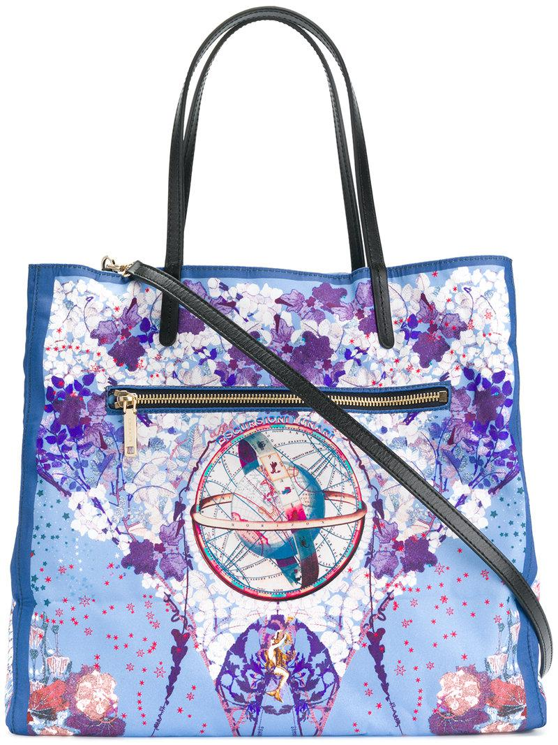 Lyst - Etro Floral Lunar Print Tote Bag In Blue