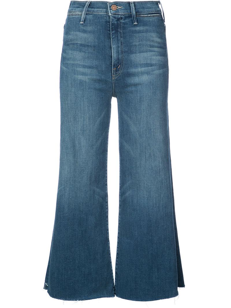 wide leg cropped trousers - Blue Mother VHex3LGg