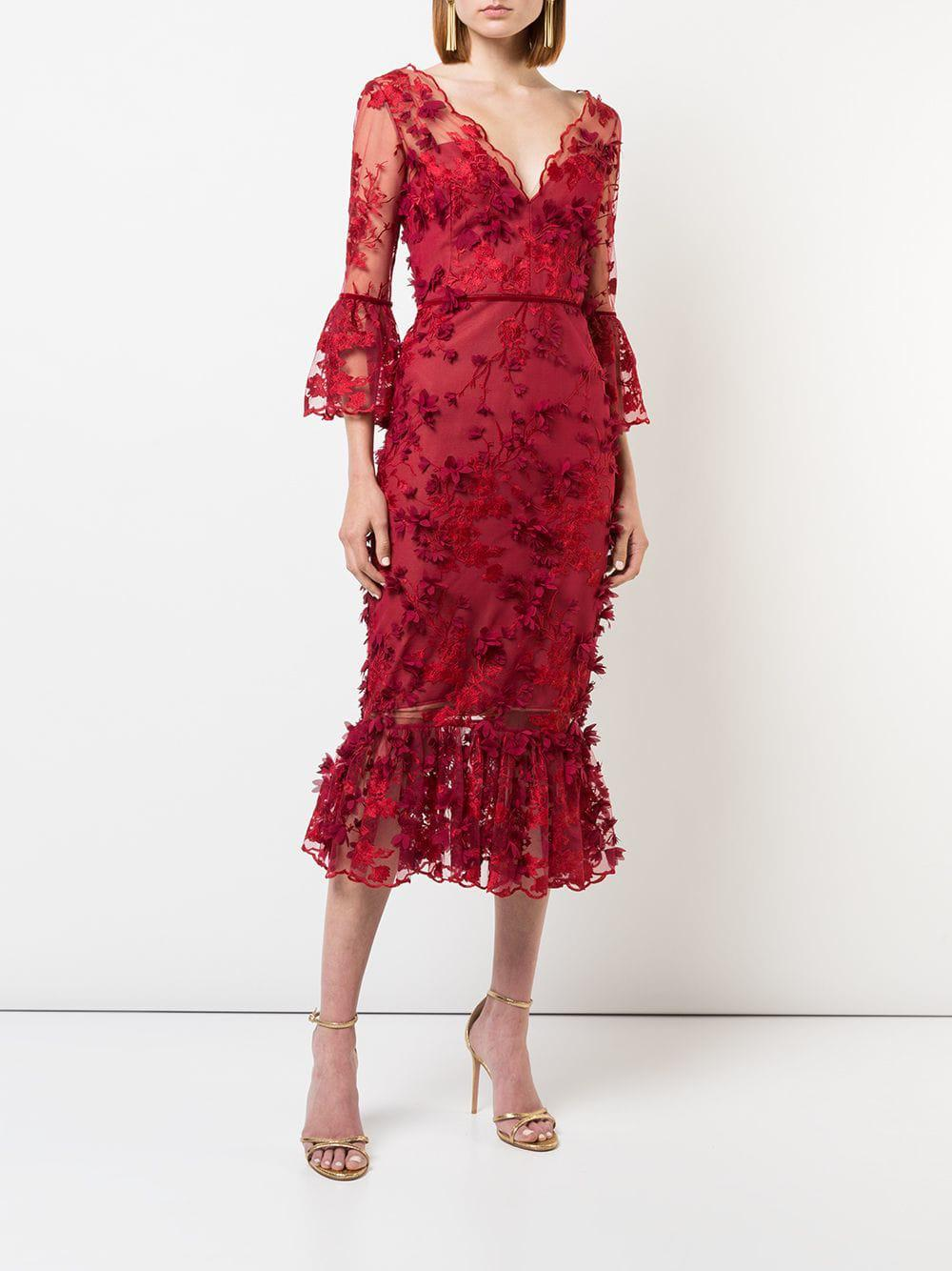 e114b37fc1b2 Marchesa notte 3/4 Sleeve Embroidered Midi Dress in Red - Lyst