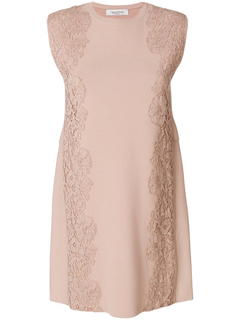 Lyst - Vestido con encaje Valentino de color Neutro