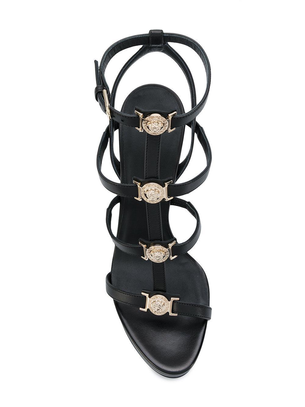 Versace Leather Signature Medusa Strap Sandals In Black Lyst