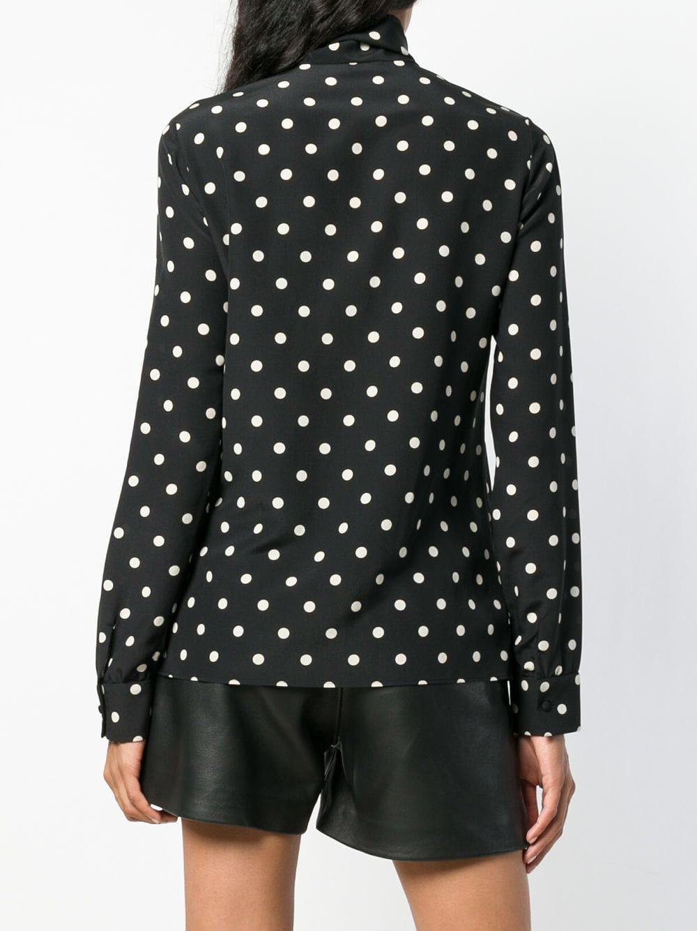 fa63bd61 Saint Laurent - Black Polka Dot Pussy Bow Blouse - Lyst. View fullscreen