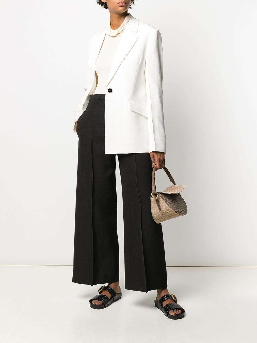 Pantalones anchos de talle alto Jil Sander de Algodón de color Negro