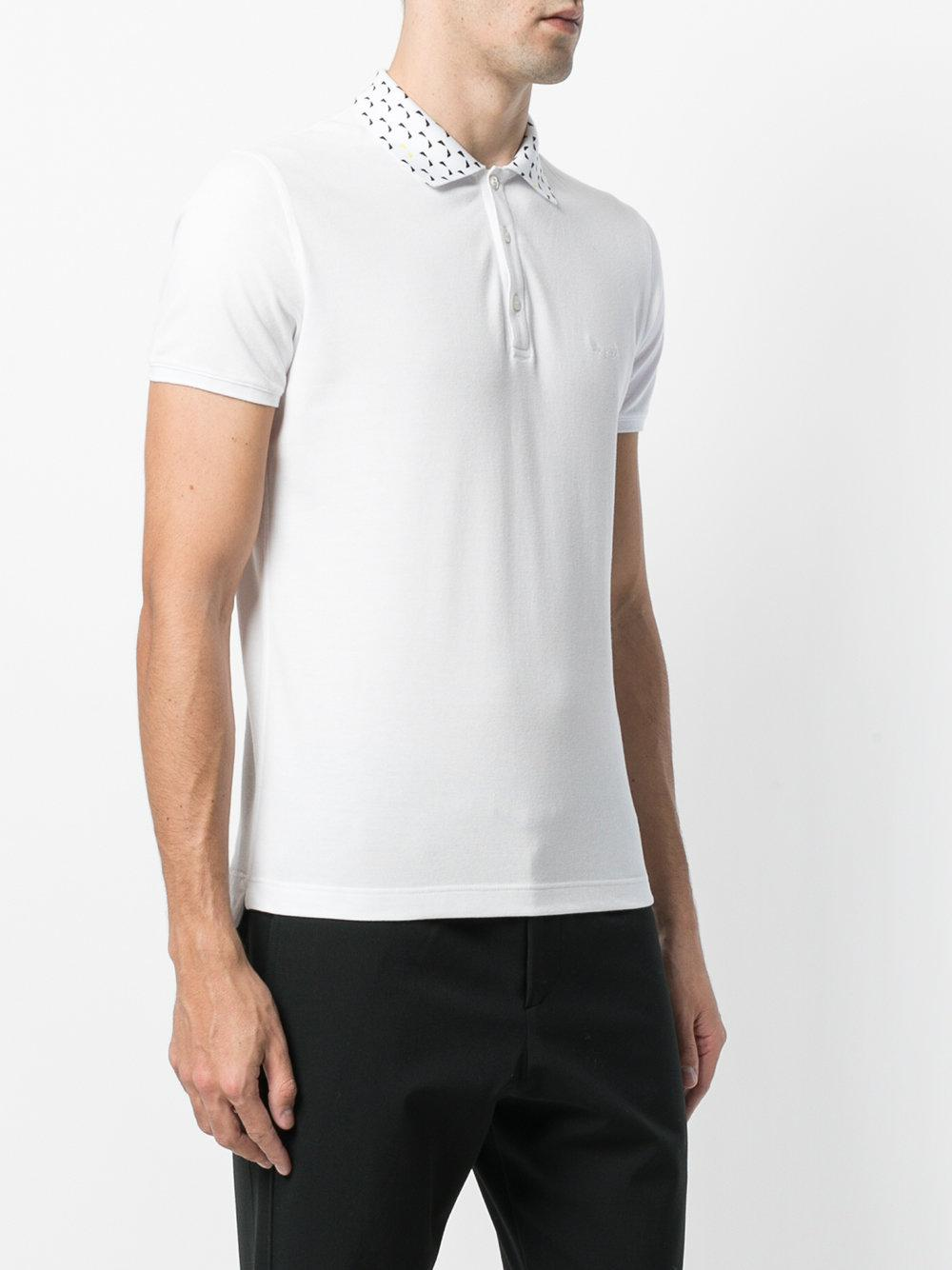 Fendi Cotton Embroidered Collar Polo Top in White for Men