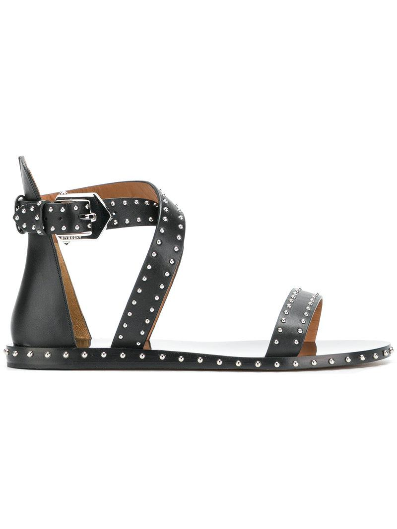 d99757429acf Lyst - Givenchy Studded Gladiator Sandals in Black
