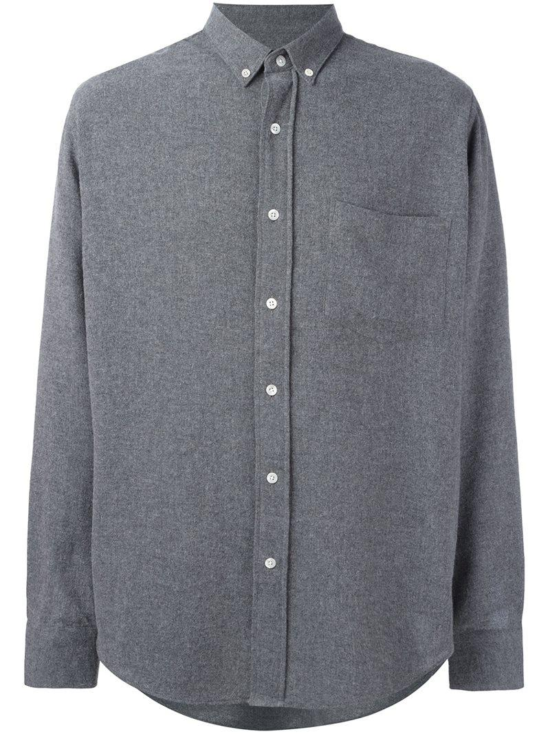 Ami button down shirt in gray for men lyst for Mens grey button down dress shirt