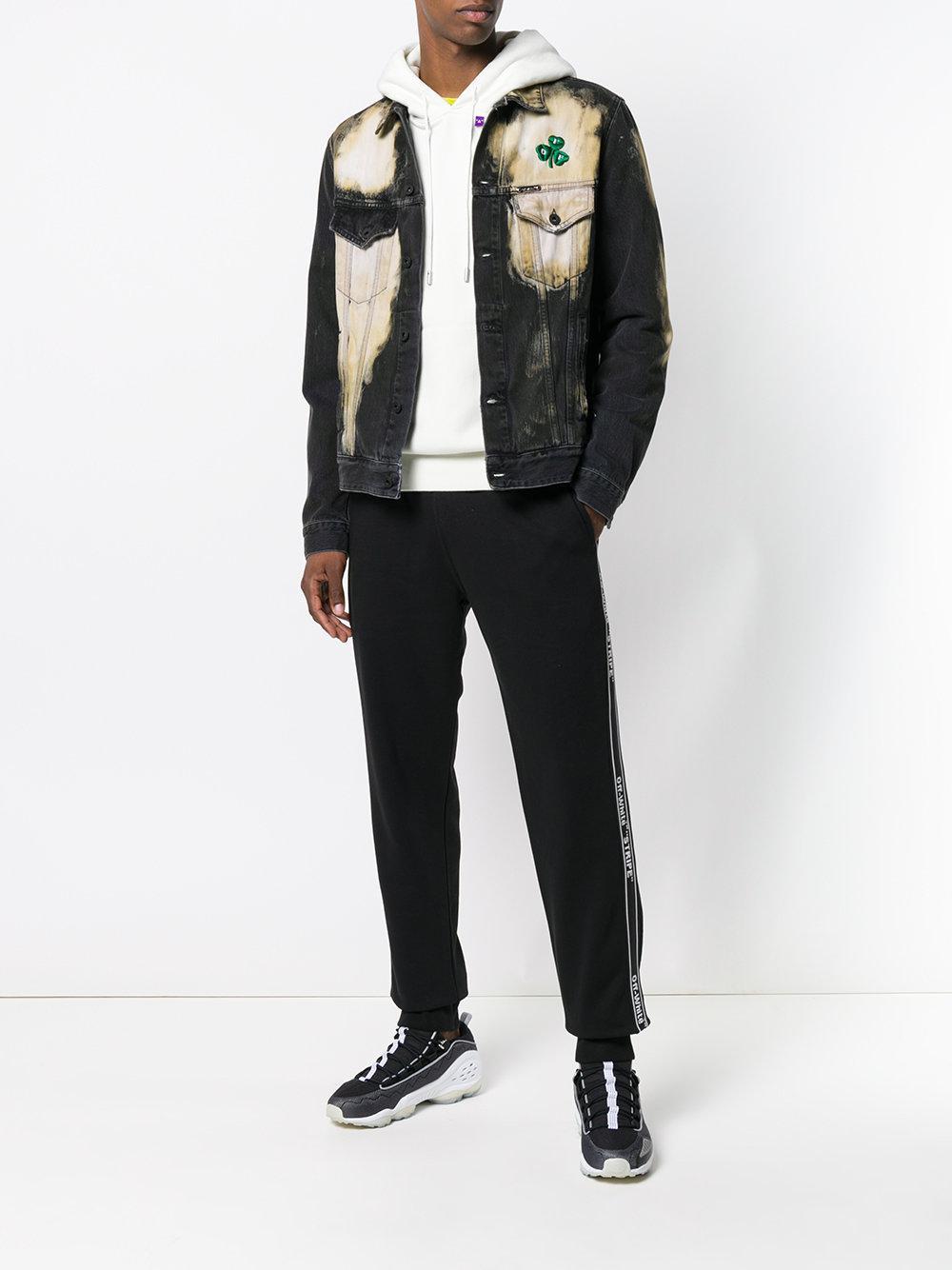Off-White c/o Virgil Abloh Katoen Logo Tape Track Trousers in het Zwart voor heren