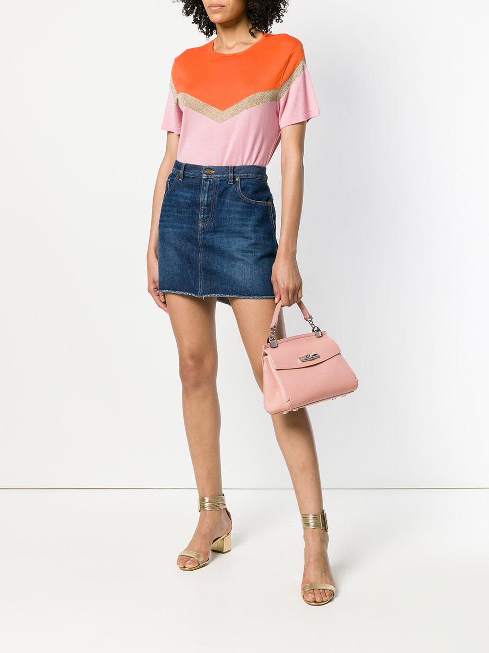 Longchamp Leather Madelein Flip Lock Tote Bag in Pink & Purple (Pink)