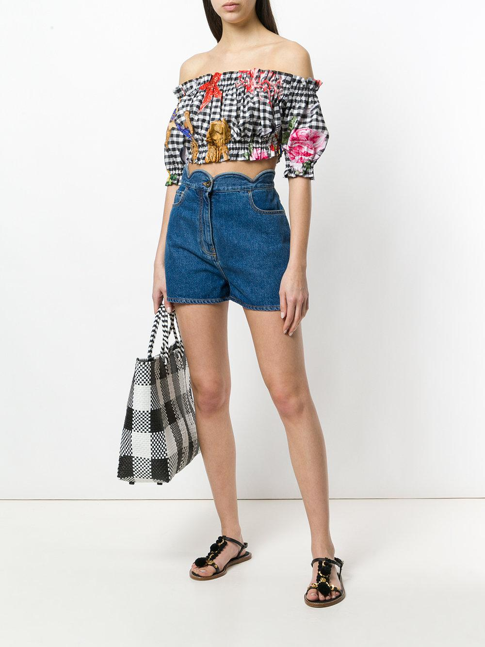 Dolce & Gabbana Gingham Check Printed Cropped Blouse in Black